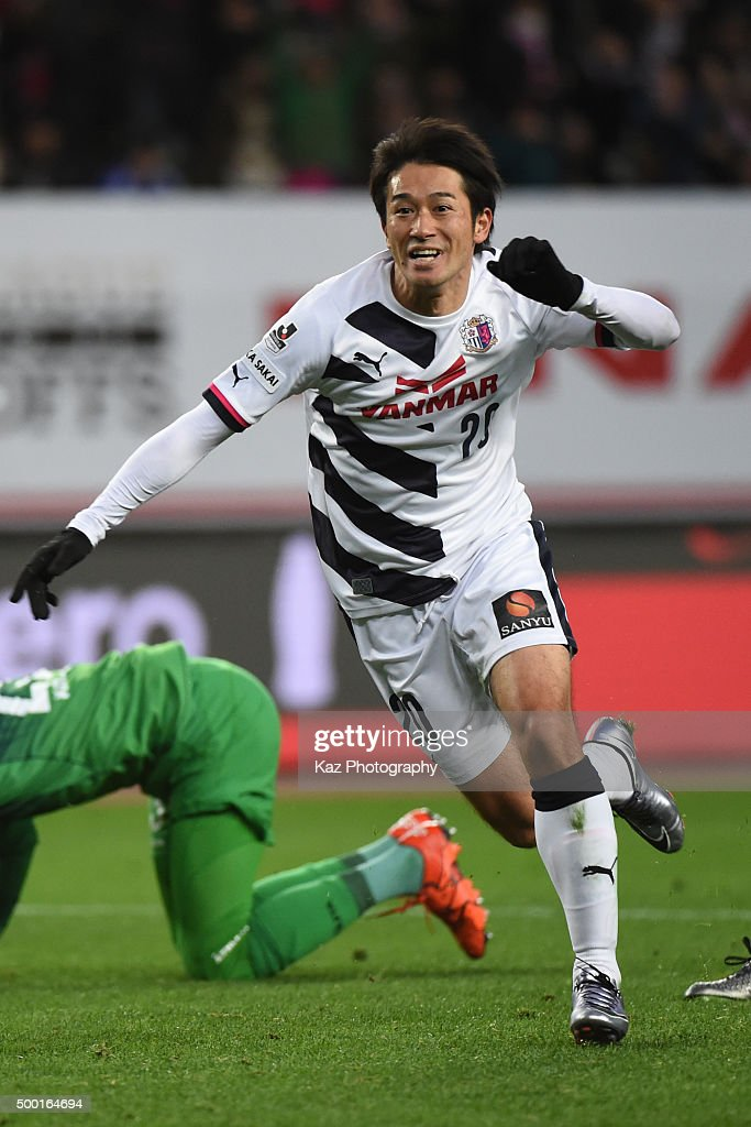 Keiji Tamada of Cerezo Osaka celebrates the opener during the J.League 2 2015 Promotional PLay-off Final match between Avispa Fukuoka and Cerezo Osaka at the Osaka Nagai Stadium on December 6, 2015 in Osaka, Tokyo, Japan.
