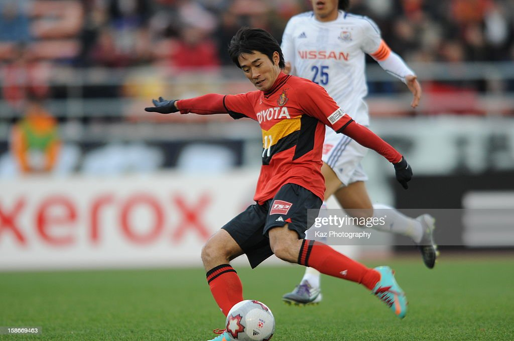 Keiji Tamada of Nagoya Grampus kicks the ball during the 92nd Emperor's Cup Quarter Final match between Nagoya Grampus and Yokohama F.Marinos at Mizuho Stadium on December 23, 2012 in Nagoya, Japan.