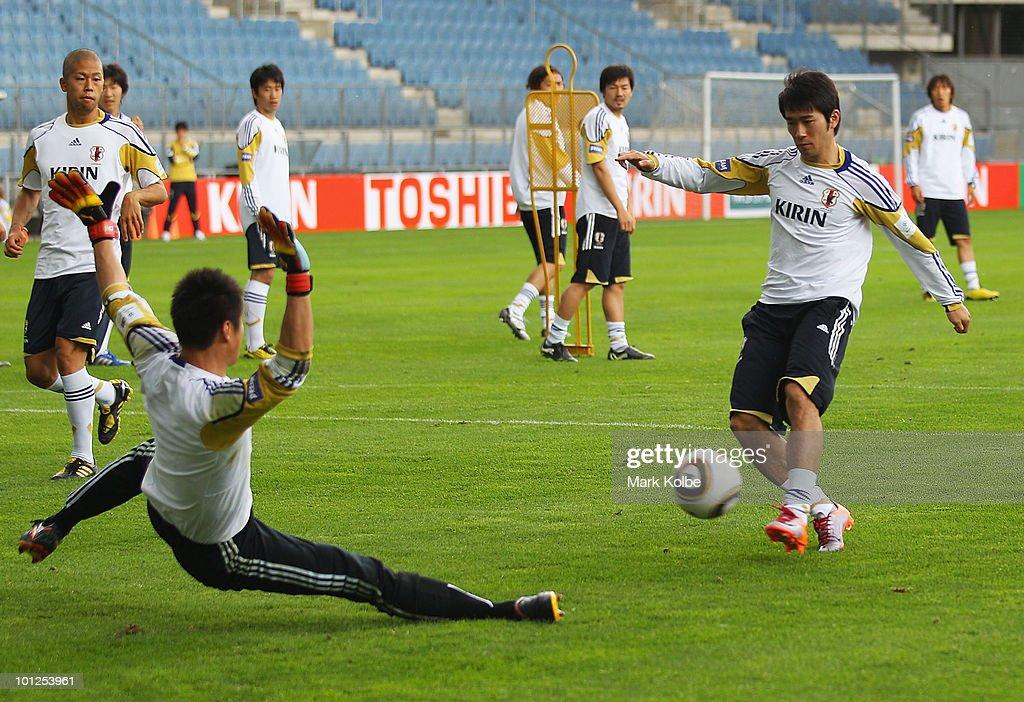 Keiji Tamada shoots at goal during a Japan training session at UPC-Arena on May 29, 2010 in Graz, Austria.
