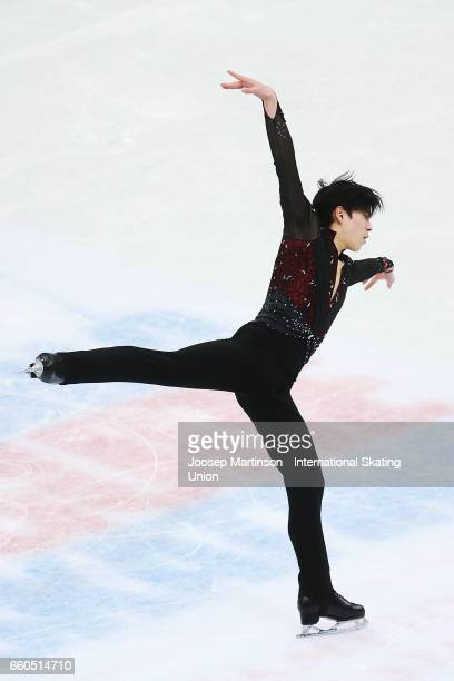 Keiji Tanaka of Japan competes in the Men's Short Program during day two of the World Figure Skating Championships at Hartwall Arena on March 30 2017...
