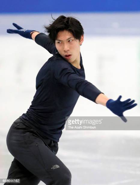 Keiji Tanaka of Japan during a practice session ahead of the World Figure Skating Championships on March 27 2017 in Helsinki Finland