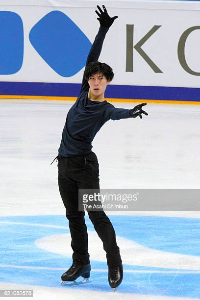 Keiji Tanaka of Japan in action ahead of the Rostelecom Cup ISU Grand Prix of Figure Skating at Megasport Ice Palace on November 3 2016 in Moscow...