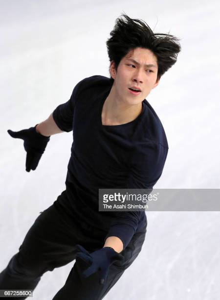 Keiji Tanaka of Japan in action during a practice session ahead of the World Figure Skating Championships at Hartwall Arena on March 28 2017 in...