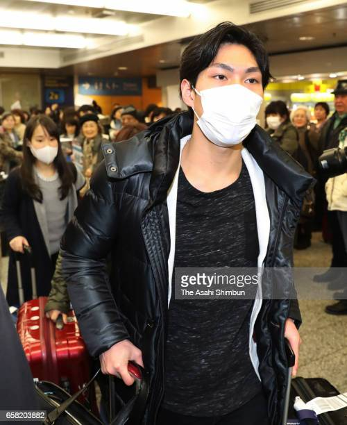 Keiji Tanaka of Japan is seen on arrival at HelsinkiVantaa Airport ahead of the World Figure Skating Championships on March 26 2017 in Helsinki...