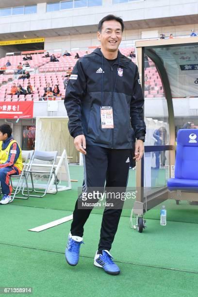 Keiju Karashimacoach of Albirex Nigata looks on prior to the Nadeshiko League match between Albirex Niigata Ladies and INAC Kobe Leonessa at Denka...
