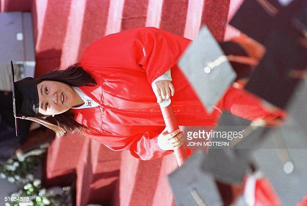 Keiko Fujimori daughter of Puruvian President Alberto Kenyo Fujimori and Peruvian First Lady leaves the podium after receiving her diploma during the...