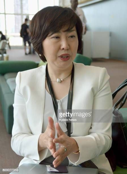 Keiko Ko a Nanzan University law professor meets Kyodo News at UN headquarters in New York on June 22 following her election to serve as one of nine...