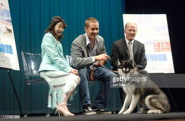 Keiko Oginome Paul Walker and Frank Marshall during 'Eight Below' Special Preview in Tokyo at Iino Hall in Tokyo Japan