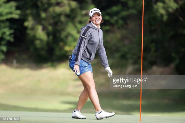 Keiko Yamamoto of Japan celebrates after making her eagle putt on the 2nd green during the final round of Fujisankei Ladies Classic at the Kawana...