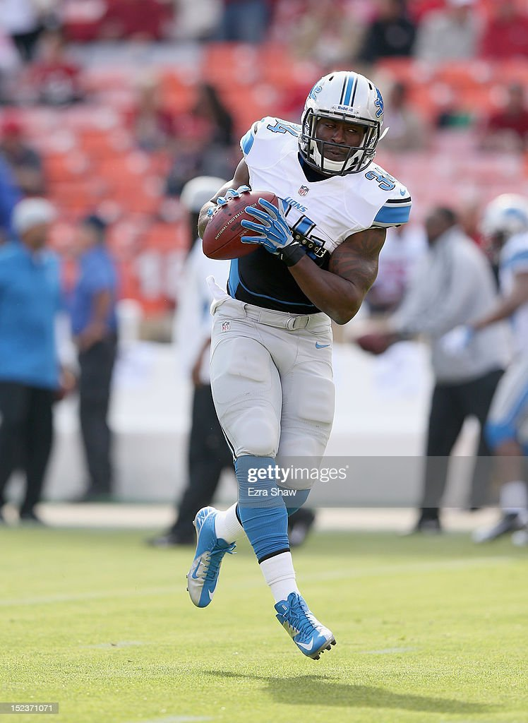 <a gi-track='captionPersonalityLinkClicked' href=/galleries/search?phrase=Keiland+Williams&family=editorial&specificpeople=3565470 ng-click='$event.stopPropagation()'>Keiland Williams</a> #34 of the Detroit Lions warms up before their game against the San Francisco 49ers at Candlestick Park on September 16, 2012 in San Francisco, California.