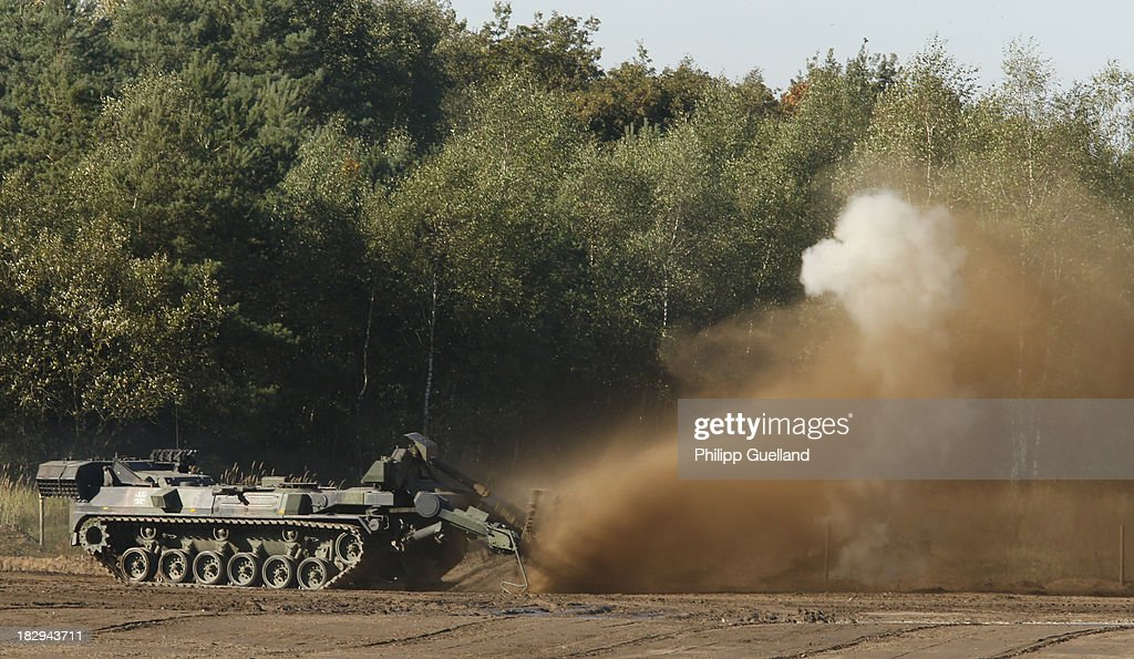 A Keiler demining Tank is shown in action during the annual military exercises held for the media at the Bergen military training grounds on October 2, 2013 near Munster, Germany. The Bundeswehr is transitioning to a professional army as Germany recently ended mandatory military service.