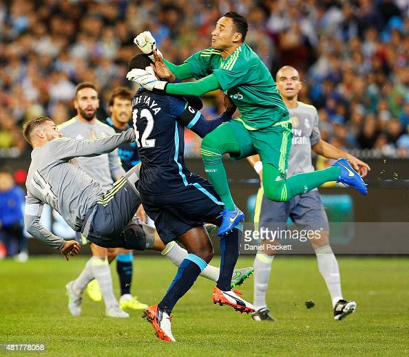 Keilor Navas Sergio Ramos Yaya Toure clash during the International Champions Cup match between Real Madrid and Manchester City at Melbourne Cricket...