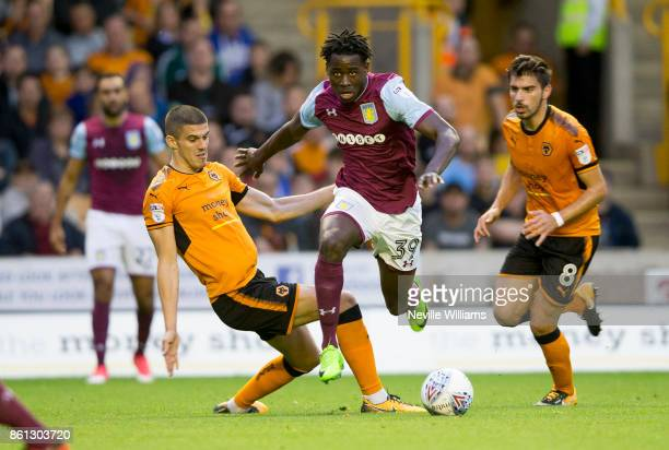 Keinan Davis of Aston Villa during the Sky Bet Championship match between Wolverhampton Wanderers and Aston Villa at the Molineux on October 14 2017...