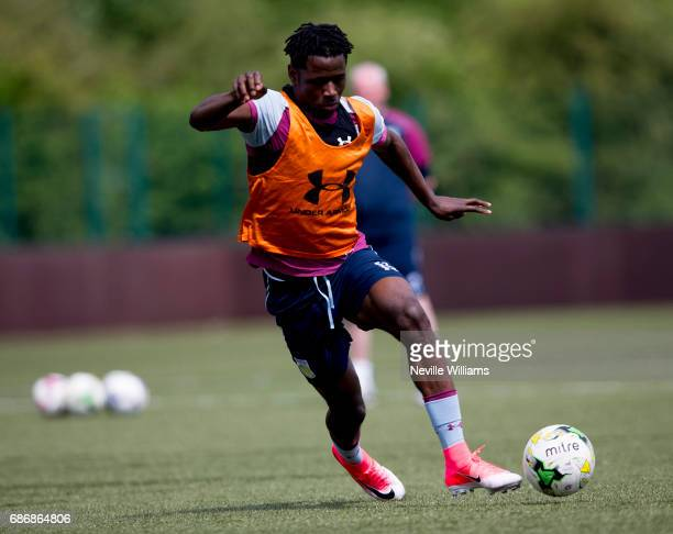 Keinan Davis of Aston Villa in action during a Aston Villa U23's training session at the club's training ground at Bodymoor Heath on May 22 2017 in...