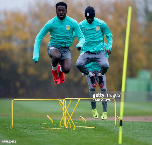 Keinan Davis of Aston Villa in action during a training session at the club's training ground at Bodymoor Heath on November 17 2017 in Birmingham...