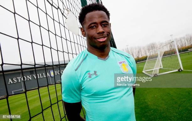 Keinan Davis of Aston Villa poses for a picture at the Aston Villa training ground on November 15 2017 in Birmingham England