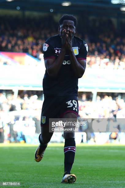 Keinan Davis of Aston Villa reacts during the Sky Bet Championship match between Birmingham City and Aston Villa at St Andrews on October 29 2017 in...