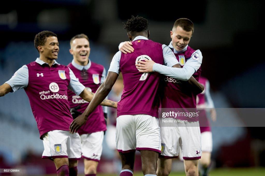 Keinan Davis of Aston Villa scores for Aston Villa during the Premier League 2 match between Aston Villa and Brighton & Hove Albion at Villa Park on March 13, 2017 in Birmingham, England.