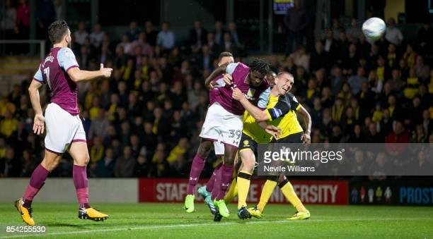 Keinan Davis of Aston Villa scores the opening goal during the Sky Bet Championship match between Burton Albion and Aston Villa at the Pirelli...