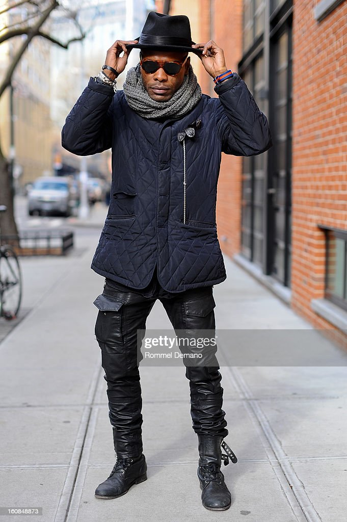 Keino Benjamin from the Bronx is seen outside the Micah Cohen show wearing All Saints Hat, Mossimo Jacket, Zara Pants and All Saints Shoes on February 6, 2013 in New York City.
