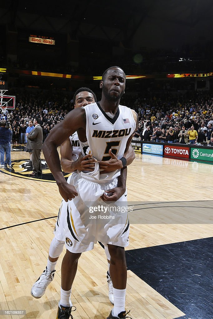 Keion Bell #5 and Phil Pressey #1 of the Missouri Tigers celebrate after the game against the Florida Gators at Mizzou Arena on February 19, 2013 in Columbia, Missouri. Missouri upset Florida 63-60.