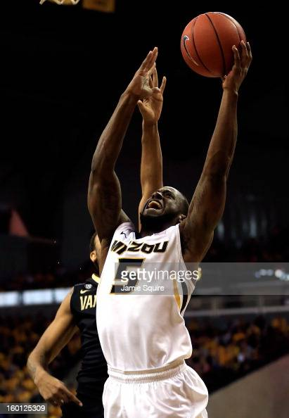 Keion Bell of the Missouri Tigers grabs a rebound during the game against the Vanderbilt Commodores at Mizzou Arena on January 26 2013 in Columbia...