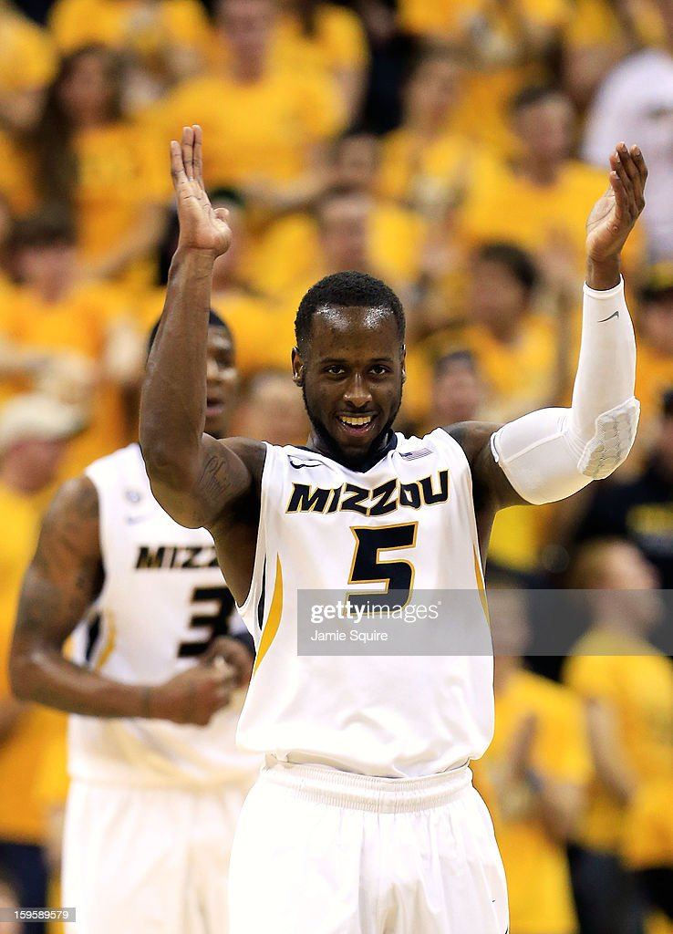 Keion Bell #5 of the Missouri Tigers reacts after scoring during the game against the Georgia Bulldogs at Mizzou Arena on January 16, 2013 in Columbia, Missouri.