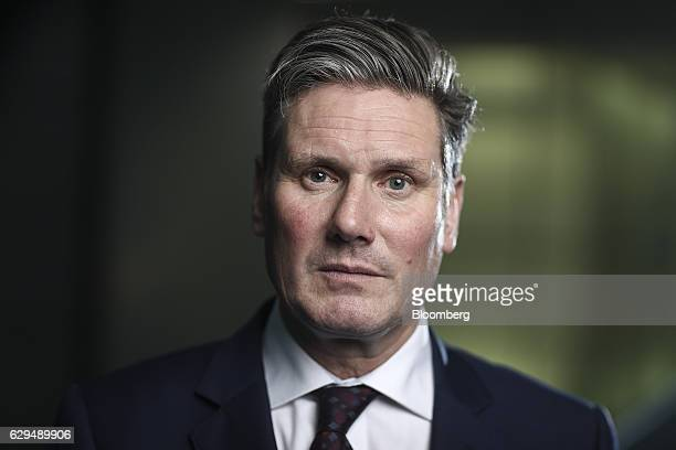 Keir Starmer shadow secretary of state for the UK's opposition Labour Party poses for a photograph following a Bloomberg Television interview in...