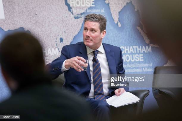 Keir Starmer UK exiting the European Union spokesman for the opposition Labour party pauses as he speaks at Chatham House in London UK on Monday...