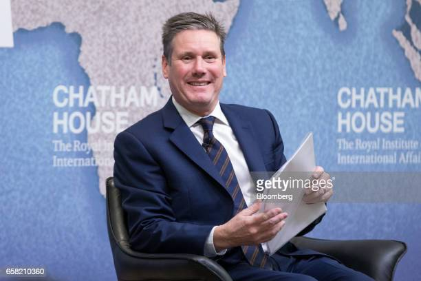 Keir Starmer UK exiting the European Union spokesman for the opposition Labour party reacts as he speaks at Chatham House in London UK on Monday...