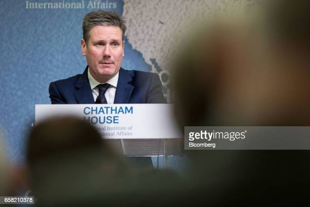 Keir Starmer UK exiting the European Union spokesman for the opposition Labour party delivers a speech at Chatham House in London UK on Monday March...
