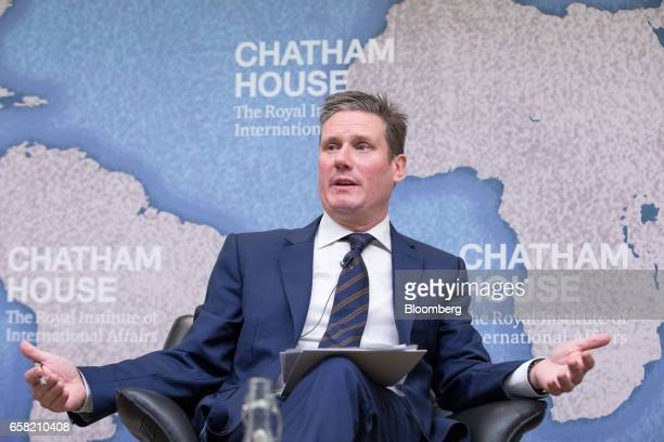 Keir Starmer UK exiting the European Union spokesman for the opposition Labour party gestures as he speaks at Chatham House in London UK on Monday...
