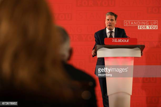Keir Starmer UK exiting the European Union spokesman for the opposition Labour party delivers an election campaign speech setting out the party's...