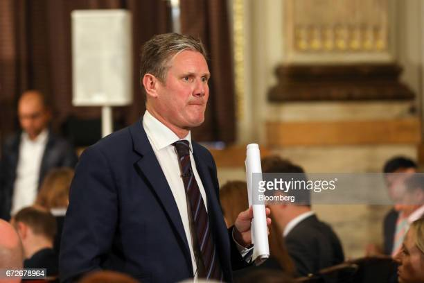 Keir Starmer UK exiting the European Union spokesman for the opposition Labour party leaves after delivering an election campaign speech setting out...