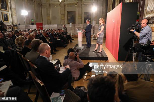 Keir Starmer UK exiting the European Union spokesman for the opposition Labour party center answers questions following an election campaign speech...