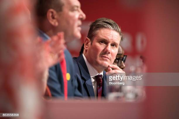 Keir Starmer UK exiting the European Union spokesman for the opposition Labour party looks on at the Labour Party Annual Conference in Brighton UK on...