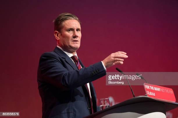 Keir Starmer UK exiting the European Union spokesman for the opposition Labour party speaks at the Labour Party Annual Conference in Brighton UK on...