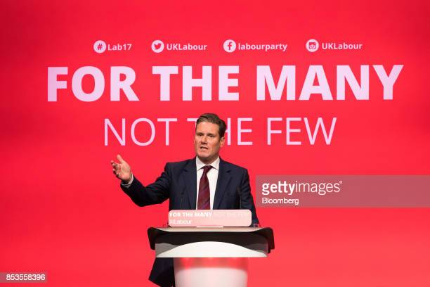 Keir Starmer UK exiting the European Union spokesman for the opposition Labour party gestures as he speaks at the Labour Party Annual Conference in...