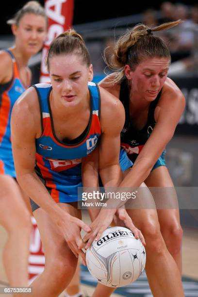 Keira Austin Maddie Hay and Maddy Balson of Victorian Fury both go for the ball during the round six ANL match between the Vic Fury and the Canberra...
