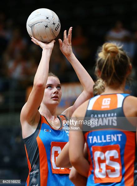 Keira Austin of Canberra shoots for goal during round one of the ANL match between Canberra Giants and Netball NSW Waratahs at Sydney Olympic Park...