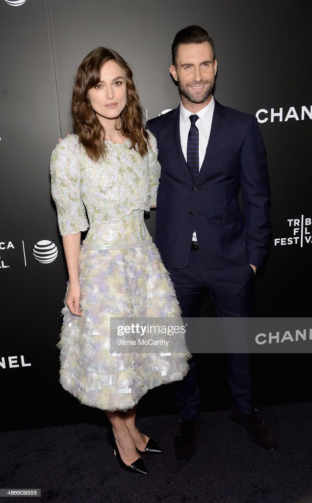 Keira Knightley and Adam Levine attend the closing night gala premiere of 'Begin Again' during the 2014 Tribeca Film Festival at BMCC Tribeca PAC on...