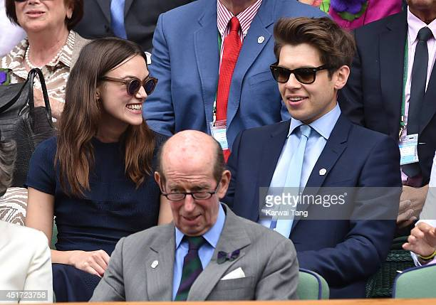 Keira Knightley and James Righton attend the ladies singles final between Eugenie Bouchard and Petra Kvitova on centre court during day twelve of the...