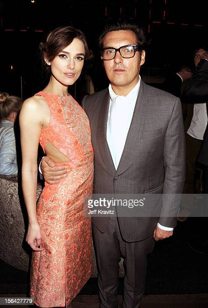 Keira Knightley and Joe Wright celebrate at the after party for 'Anna Karenina' at Greystone Manor Supperclub on November 14 2012 in West Hollywood...
