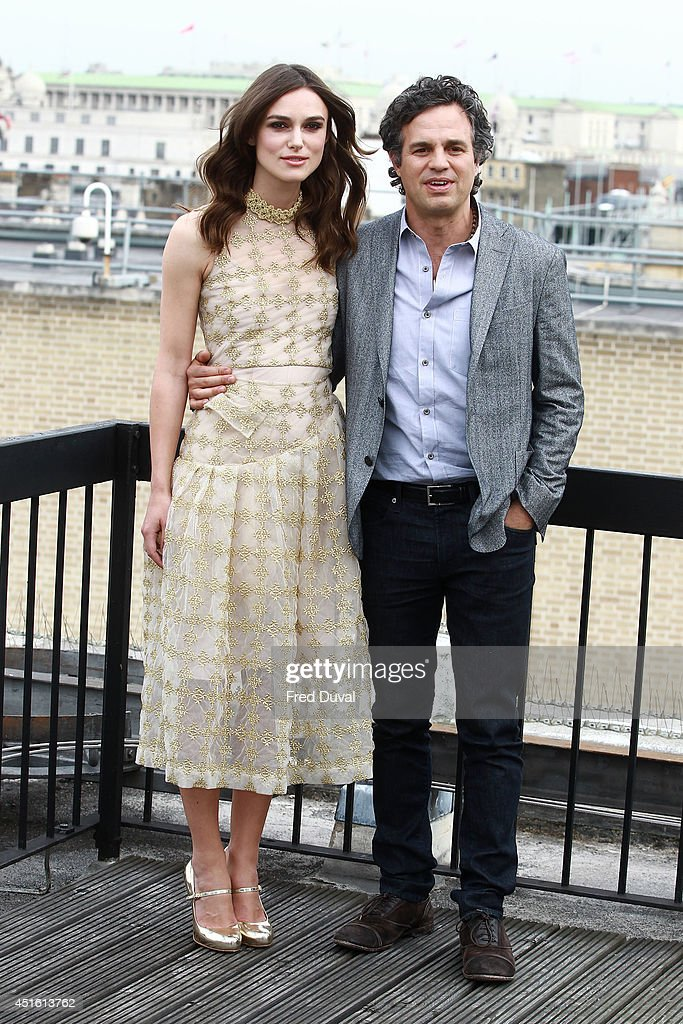 <a gi-track='captionPersonalityLinkClicked' href=/galleries/search?phrase=Keira+Knightley&family=editorial&specificpeople=202053 ng-click='$event.stopPropagation()'>Keira Knightley</a> and Mark Rufallo attends a photocall for 'Begin Again' on July 2, 2014 in London, England.