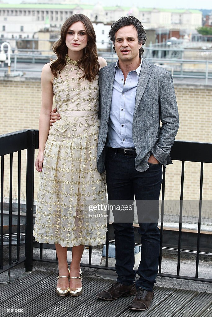 Keira Knightley and Mark Ruffalo attend a photocall for 'Begin Again' on July 2, 2014 in London, England.