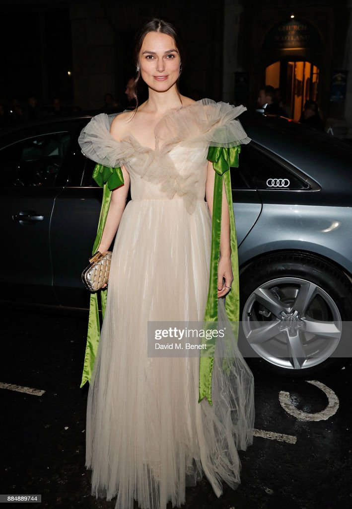Keira Knightley arrives in an Audi at the Evening Standard Theatre Awards at Theatre Royal on December 3, 2017 in London, England.