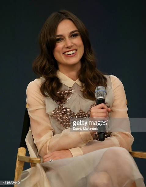 Keira Knightley attends a Meet The Cast event for 'Begin Again' at Apple Store Regent Street on July 2 2014 in London England