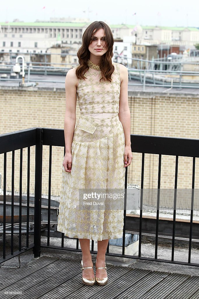Keira Knightley attends a photocall for 'Begin Again' on July 2, 2014 in London, England.