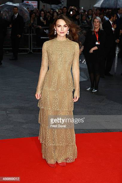 Keira Knightley attends the opening night gala screening of 'The Imitation Game' during the BFI London Film Festival at Odeon Leicester Square on...