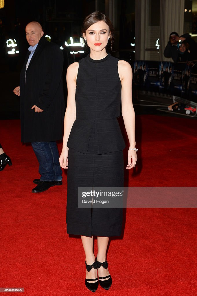 <a gi-track='captionPersonalityLinkClicked' href=/galleries/search?phrase=Keira+Knightley&family=editorial&specificpeople=202053 ng-click='$event.stopPropagation()'>Keira Knightley</a> attends the UK premiere of 'Jack Ryan: Shadow Recruit' on January 20, 2014 in London, England.